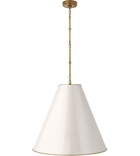 Visual Comfort TOB5014HAB-AW Thomas O'Brien Goodman 2 Light 25 inch Hand-Rubbed Antique Brass Hanging Shade Ceiling Light in Antique White photo