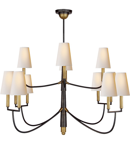 Visual Comfort TOB5017BZ/HAB-NP Thomas O'Brien Farlane 12 Light 48 inch Bronze with Antique Brass Accents Chandelier Ceiling Light photo