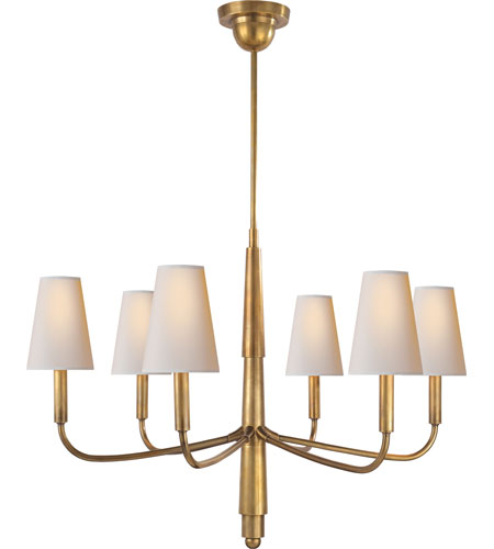 Visual Comfort TOB5018HAB-NP Thomas OBrien Farlane 6 Light 34 inch  Hand-Rubbed Antique Brass Chandelier Ceiling Light in (None), Natural Paper - Visual Comfort TOB5018HAB-NP Thomas OBrien Farlane 6 Light 34 Inch