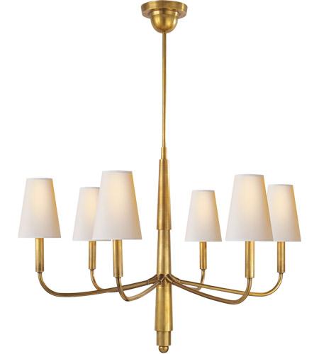 Visual Comfort TOB5018HAB-NP Thomas O'Brien Farlane 6 Light 34 inch Hand-Rubbed Antique Brass Chandelier Ceiling Light in Natural Paper photo