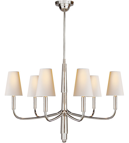 Visual Comfort TOB5018PS-NP Thomas O'Brien Farlane 6 Light 34 inch Polished Silver Chandelier Ceiling Light in Natural Paper photo