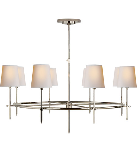 Visual Comfort TOB5024PN-NP Thomas O'Brien Bryant 8 Light 42 inch Polished Nickel Chandelier Ceiling Light, Large Ring photo