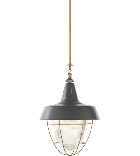 Visual comfort tob5042hab g thomas obrien henry 2 light 18 inch hand rubbed antique brass pendant ceiling light in green tole