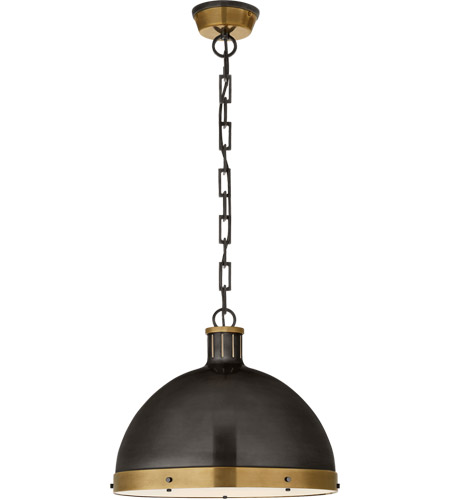 Visual Comfort TOB5071BZ/HAB Thomas Obrien Hicks 2 Light 16 inch Bronze and Hand-Rubbed Antique Brass Pendant Ceiling Light, Extra Large photo