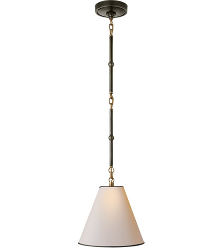 Visual Comfort TOB5089BZ/HAB-NP/BT Thomas O'Brien Goodman 1 Light 10 inch Bronze with Antique Brass Hanging Shade Ceiling Light in Natural Paper with Black Tape photo