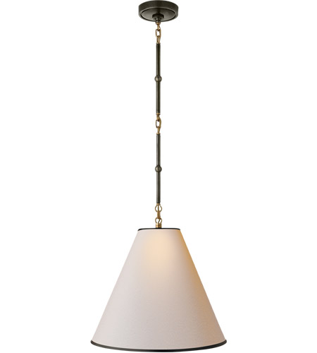 Visual Comfort TOB5090BZ/HAB-NP/BT Thomas O'Brien Goodman 1 Light 15 inch Bronze with Antique Brass Accents Hanging Shade Ceiling Light in Natural Paper photo