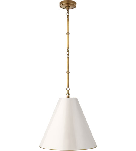 Visual Comfort TOB5090HAB-AW Thomas O'Brien Goodman 1 Light 15 inch Hand-Rubbed Antique Brass Hanging Shade Ceiling Light in Antique White photo