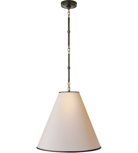 Visual Comfort TOB5091BZ/HAB-NP/BT Thomas O'Brien Goodman 1 Light 18 inch Bronze with Antique Brass Accents Pendant Ceiling Light in Natural Paper, Hand-Rubbed Antique Brass photo
