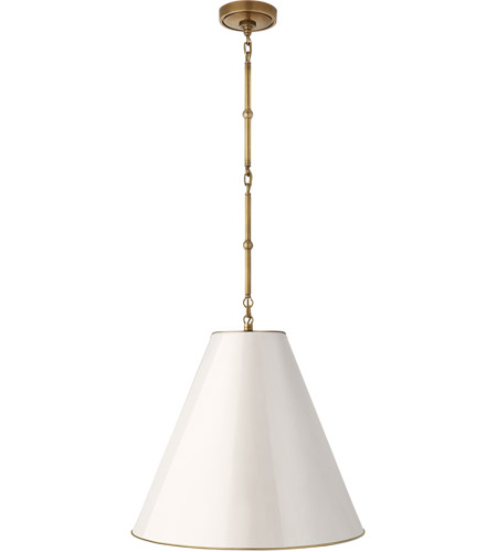 Visual Comfort TOB5091HAB-AW Thomas O'Brien Goodman 1 Light 18 inch Hand-Rubbed Antique Brass Pendant Ceiling Light in Antique White photo