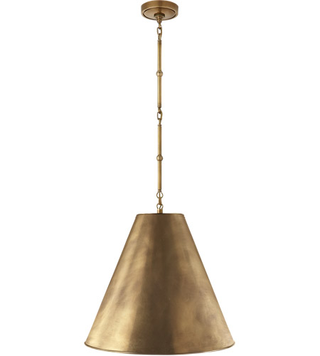Visual comfort tob5091hab hab thomas obrien goodman 1 light 18 inch hand rubbed antique brass pendant ceiling light in none