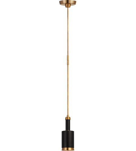 Visual Comfort TOB5097HAB/BLK Thomas O'Brien Anders 1 Light 4 inch Hand-Rubbed Antique Brass and Black Pendant Ceiling Light, Small Cylindrical photo