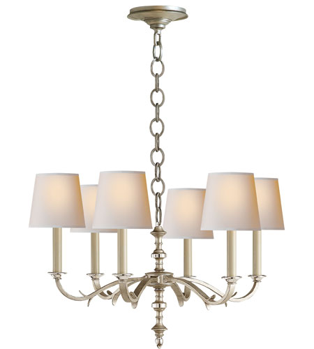 Visual Comfort TOB5119BSL-NP Thomas OBrien Channing 6 Light 28 inch Burnished Silver Leaf Chandelier Ceiling Light in (None) photo