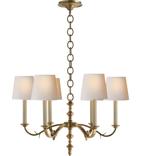 Visual Comfort TOB5119HAB-NP Thomas OBrien Channing 6 Light 28 inch Hand-Rubbed Antique Brass Chandelier Ceiling Light in (None) photo