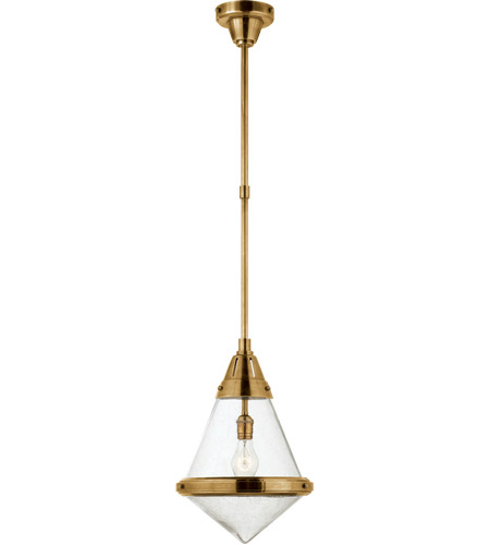 Visual Comfort TOB5155HAB-SG Thomas O'Brien Gale 1 Light 11 inch Hand-Rubbed Antique Brass Pendant Ceiling Light in Seeded Glass photo