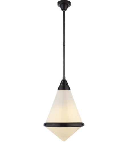 Visual Comfort TOB5156BZ-WG Thomas O'Brien Gale 1 Light 16 inch Bronze Pendant Ceiling Light in White Glass photo