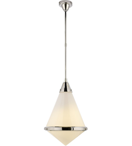 Visual Comfort TOB5156PN-WG Thomas O'Brien Gale 1 Light 16 inch Polished Nickel Pendant Ceiling Light in White Glass photo