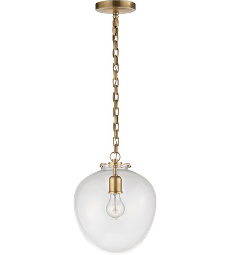 Visual Comfort TOB5226HAB/G2-CG Thomas O'Brien Katie 1 Light 11 inch Hand-Rubbed Antique Brass Pendant Ceiling Light in Clear Glass photo