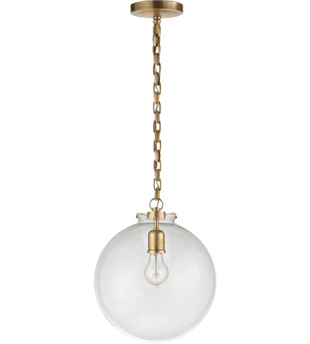 Visual Comfort TOB5226HAB/G4-CG Thomas Obrien Katie 1 Light 12 inch Hand-Rubbed Antique Brass Pendant Ceiling Light in Clear Glass photo