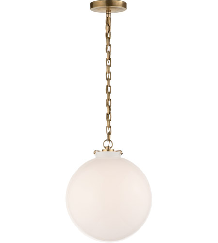 Visual Comfort TOB5226HAB/G4-WG Thomas O'Brien Katie 1 Light 12 inch Hand-Rubbed Antique Brass Pendant Ceiling Light in White Glass photo