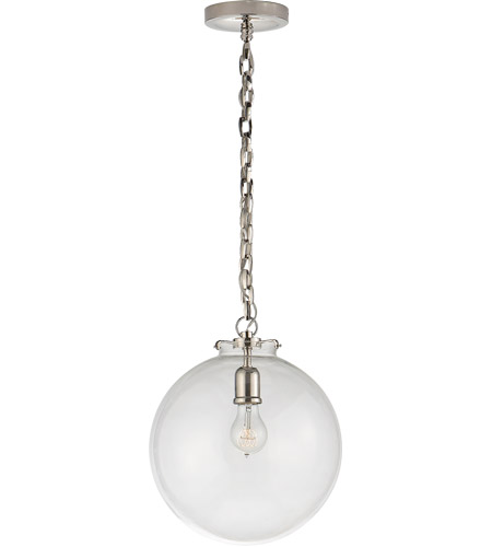 Visual Comfort TOB5226PN/G4-CG Thomas O'Brien Katie 1 Light 12 inch Polished Nickel Pendant Ceiling Light in Clear Glass photo