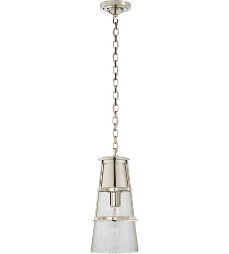 Visual Comfort TOB5752PN-SG Thomas O'Brien Robinson 1 Light 8 inch Polished Nickel Pendant Ceiling Light in Seeded Glass, Thomas O'Brien, Medium, Seeded Glass photo