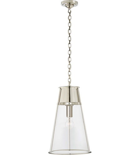 Visual comfort tob5753pn cg thomas obrien robinson 12 inch polished nickel pendant ceiling light in