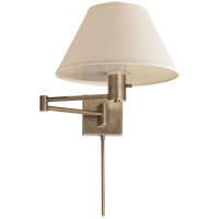 Studio Classic 25 inch 75 watt Antique Nickel Swing-Arm Wall Light in Linen