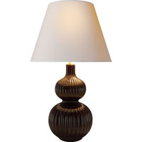 Visual Comfort Alexa Hampton Lucille 2 Light Decorative Table Lamp in Dark Brown Porcelain AH3040DB-NP