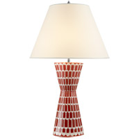 Alexa Hampton Eve 32 inch 60 watt Berry Red Table Lamp Portable Light, Alexa Hampton, Natural Percale Shade