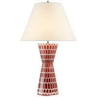 Visual Comfort AH3121BYR-PL Alexa Hampton Eve 32 inch 60 watt Berry Red Table Lamp Portable Light, Alexa Hampton, Natural Percale Shade