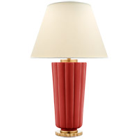 Visual Comfort Alexa Hampton Hopkins 2 Light Table Lamp in Berry Red with Natural Percale Shade AH3128BYR-PL