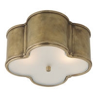 Visual Comfort Alexa Hampton Basil 2 Light Flush Mount in Natural Brass AH4014NB-FG
