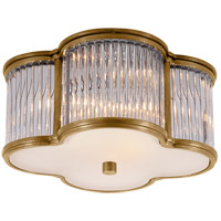 Visual Comfort Alexa Hampton Basil 2 Light Flush Mount in Natural Brass with Clear Glass with Frosted Glass Shade AH4014NB/CG-FG