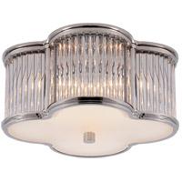 Visual Comfort Alexa Hampton Basil 2 Light Flush Mount in Polished Nickel with Clear Glass with Frosted Glass Shade AH4014PN/CG-FG