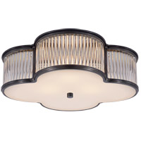 Visual Comfort Alexa Hampton Basil 3 Light Flush Mount in Gun Metal with Frosted Glass Shade AH4015GM/CG-FG