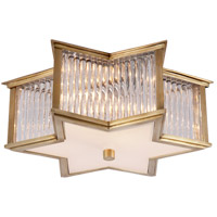 Visual Comfort Alexa Hampton Sophia 2 Light Flush Mount in Natural Brass with Clear Glass with Frosted Glass Shade AH4016NB/CG-FG