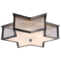 Visual Comfort Alexa Hampton Sophia 3 Light Flush Mount in Gun Metal with Frosted Glass Shade AH4017GM/CG-FG