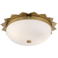 Visual Comfort Alexa Hampton Rachel 2 Light Flush Mount in Natural Brass with White Glass Shade AH4029NB-WG