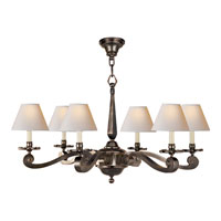 Alexa Hampton Myrna 6 Light 33 inch Gun Metal with Wax Chandelier Ceiling Light