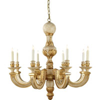 Visual Comfort Alexa Hampton Dexter 8 Light Chandelier in Antique White with Gold Leaf AH5025AWG