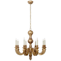 Visual Comfort Alexa Hampton Dexter 8 Light Chandelier in Weathered White and Gold AH5025WGL