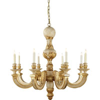Visual Comfort Alexa Hampton Dexter 8 Light Chandelier in Antique White with Gold Leaf AH5026AWG