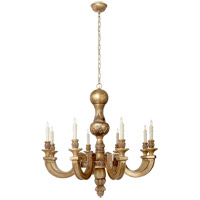 Visual Comfort Alexa Hampton Dexter 8 Light Chandelier in Weathered White and Gold AH5026WGL