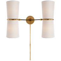 Visual Comfort ARN2003BLK-L AERIN Clarkson 4 Light 22 inch Black and Brass Double Sconce Wall Light
