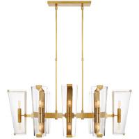 Visual Comfort ARN5312HAB-CG AERIN Alpine 16 Light 45 inch Hand-Rubbed Antique Brass Linear Chandelier Ceiling Light Medium