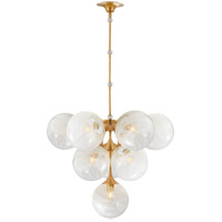 Visual Comfort ARN5401HAB-WG AERIN Cristol 10 Light 28 inch Hand-Rubbed Antique Brass Tiered Chandelier Ceiling Light