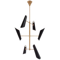 Visual Comfort ARN5412HAB-BLK AERIN Franca LED 44 inch Hand-Rubbed Antique Brass Pivoting Chandelier Ceiling Light Tall