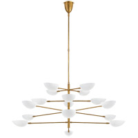 Visual Comfort ARN5503HAB-WHT AERIN Graphic 16 Light 70 inch Hand-Rubbed Antique Brass Four-Tier Chandelier Ceiling Light Grande