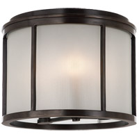Visual Comfort Barbara Barry Normandy 3 Light Outdoor Flush Mount in Bronze with Frosted Glass Shade BBL4065BZ-FG