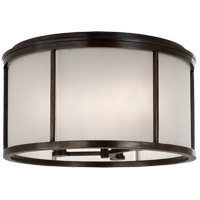 Visual Comfort Barbara Barry Normandy 3 Light Outdoor Flush Mount in Bronze with Frosted Glass Shade BBL4066BZ-FG